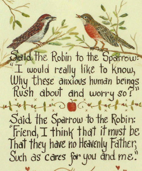 Wall Art - Painting - Robin And Sparrow by Lou Ann Bagnall