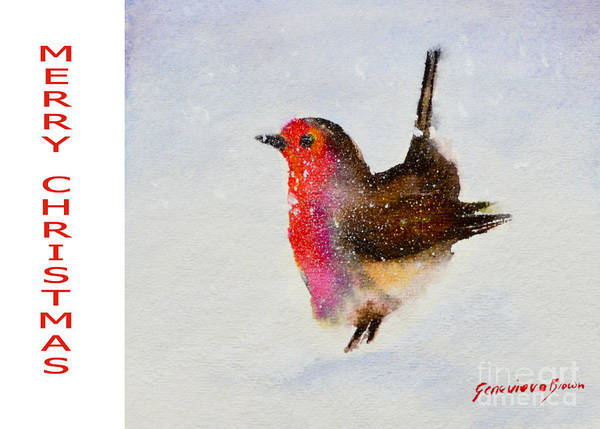 Painting - Robin Christmas Card by Genevieve Brown