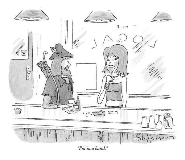 Music Drawing - Robin Hood Attempts To Pick Up A Woman At A Bar by Danny Shanahan