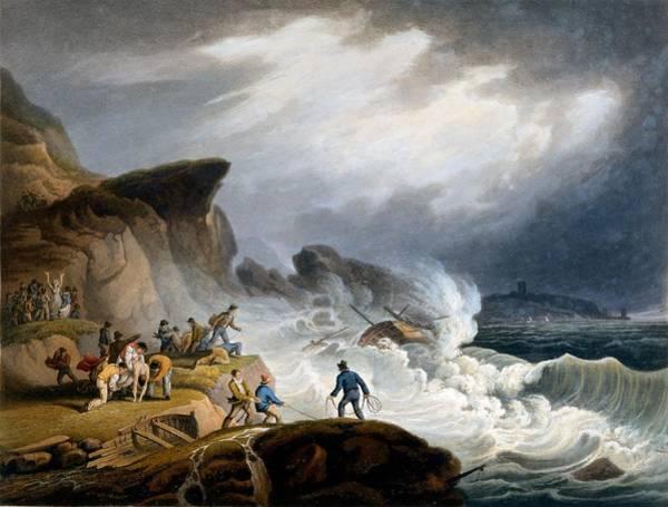 Shipwreck Drawing - Robin Hoods Bay, Yorkshire, 1825 by Francis Nicholson