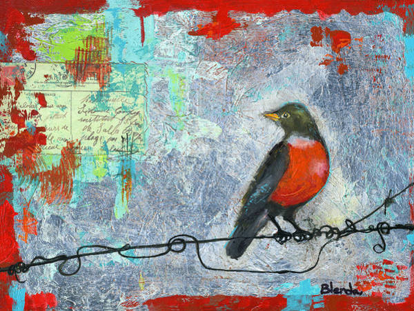 Wire Painting - Robin Love Letter  by Blenda Studio