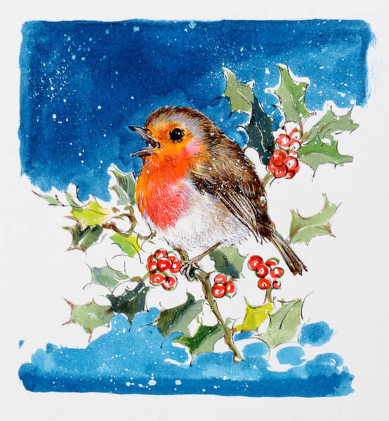 Diane Berry Wall Art - Painting - Robin Red-breast by Diane Matthes