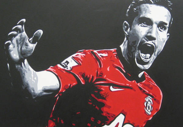 Manchester United Fc Wall Art - Painting - Robin Van Persie - Manchester United Fc by Geo Thomson