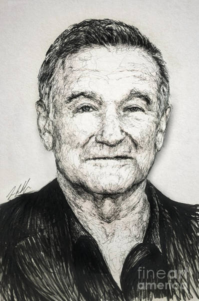 Hook Drawing - Robin Williams by Michael Volpicelli