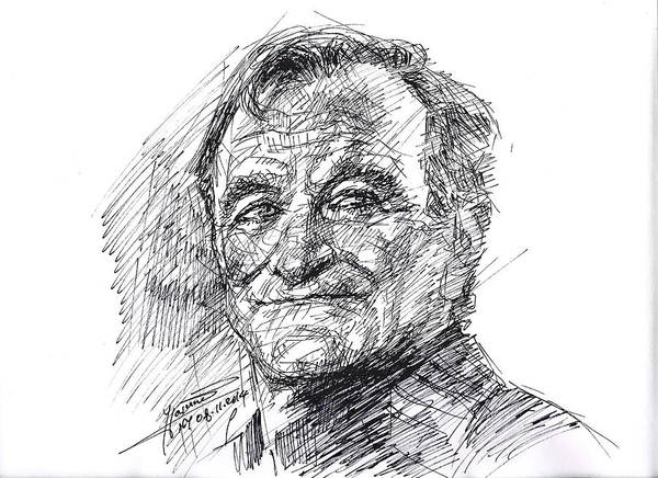 Movie Drawing - Robin Williams by Ylli Haruni