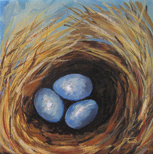 Bird Wall Art - Painting - Robin's Three Eggs V by Torrie Smiley