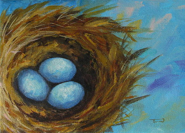 Wall Art - Painting - Robin's Three Eggs Viii by Torrie Smiley