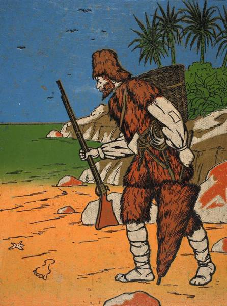 Tropical Drawing - Robinson Crusoe, Illustration From The by English School
