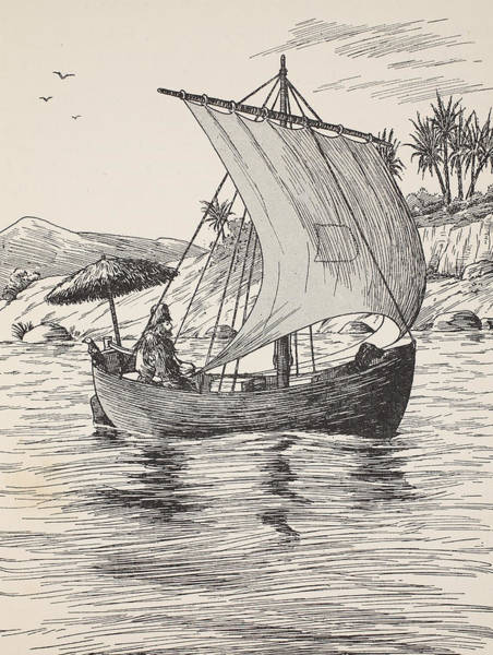 Tropical Drawing - Robinson Crusoe On His Boat by English School
