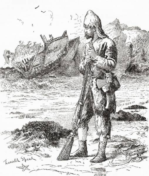 Robinson Photograph - Robinson Crusoe On The Desert Island After Being Shipwrecked.  From Adventures Of Robinson Crusoe by Bridgeman Images