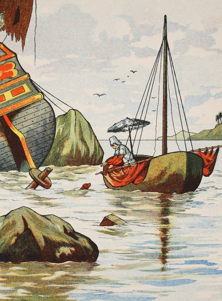 Maroon Painting - Robinson Crusoe Rescuing A Dog From A Spanish Shipwreck by English School