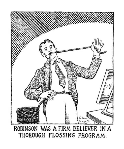 1990 Drawing - Robinson Was A Firm Believer In A Thorough by Glen Baxter