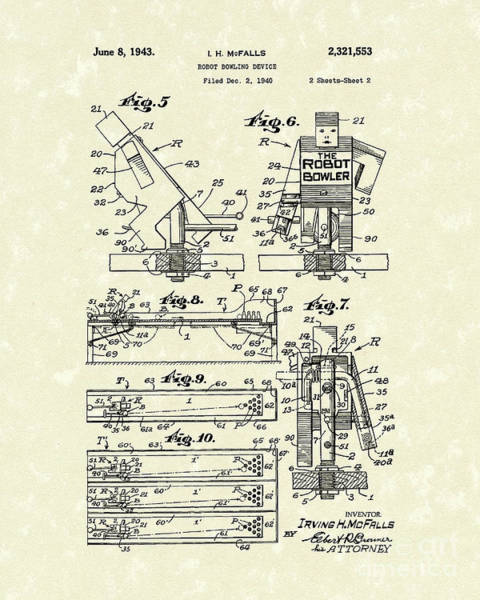 Drawing - Robot Device 1943 Patent Art by Prior Art Design