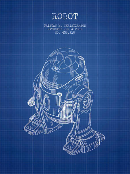 Living Space Wall Art - Digital Art - Robot Patent From 2002 - Blueprint by Aged Pixel