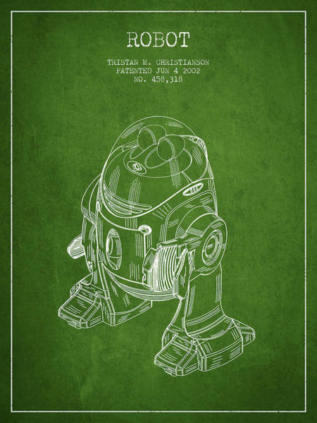 Living Space Wall Art - Digital Art - Robot Patent From 2002 - Green by Aged Pixel