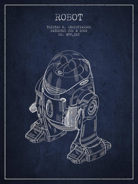 Living Space Wall Art - Digital Art - Robot Patent From 2002 - Navy Blue by Aged Pixel
