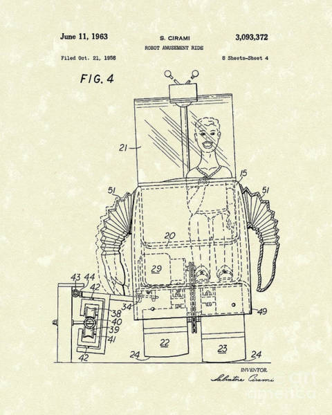 Drawing - Robot Ride 1963 Patent Art by Prior Art Design