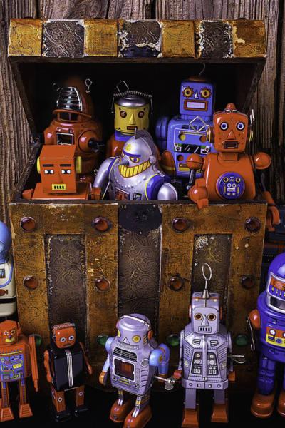 Tin Box Photograph - Robots In Treasure Box by Garry Gay