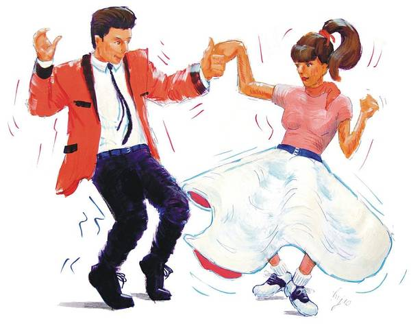 Painting - Rock And Roll Dancers by Mike Jory