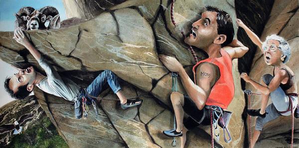Sheep Rock Wall Art - Painting - Rock Climbers by Denny Bond
