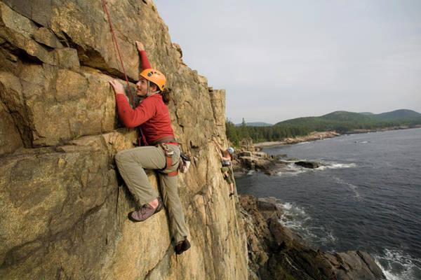 Wall Art - Photograph - Rock Climbing On Oceanside Cliffs, Maine by Jose Azel