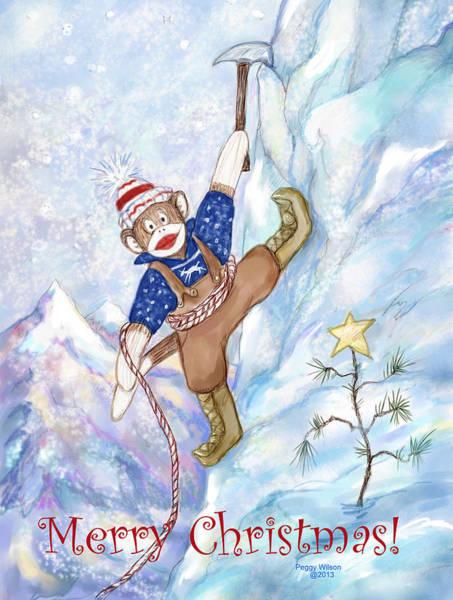 Sock Monkey Drawing - Rock Climbing Sock Monkey by Peggy Wilson