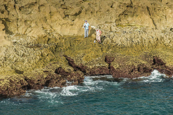 Senior Adult Photograph - Rock Fishing On Coastline Of Cascais by Paul Todd