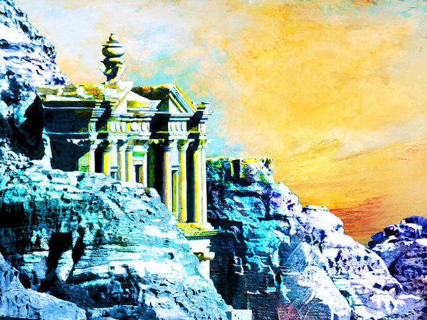 Er Wall Art - Painting - Rock Hewn Monastery Ad-deir by Catf