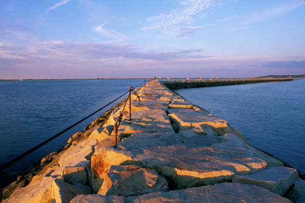 Plymouth Rock Photograph - Rock Jetty, Plymouth Harbor by Peter Dennen