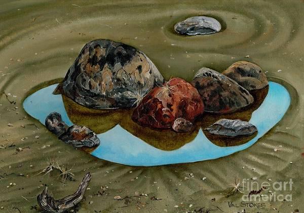 Painting - Rock Pool-raglan.nz by Val Stokes