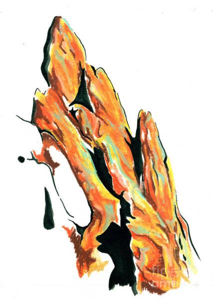 Wall Art - Drawing - Rock Slide by Jen Callison