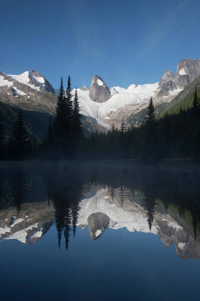 Bugaboo Photograph - Rock Spires And Glaciers Reflected In by Topher Donahue