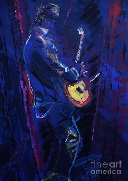 Jazz-funk Painting - Rhythm In Blue by Elizabeth Briggs