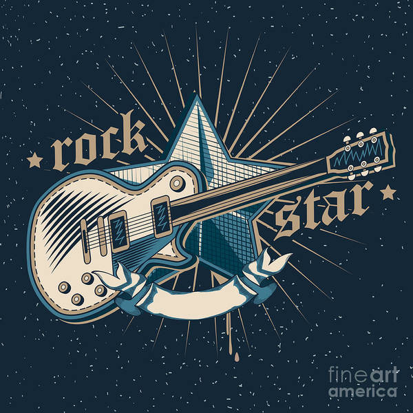 Grunge Music Wall Art - Digital Art - Rock Star Emblem by Alex bond