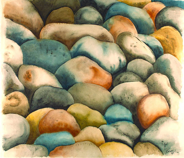 Wall Art - Painting - Rockbed In Natural by Rosemary Craig