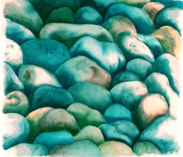 Wall Art - Painting - Rockbed In Seaglass by Rosemary Craig