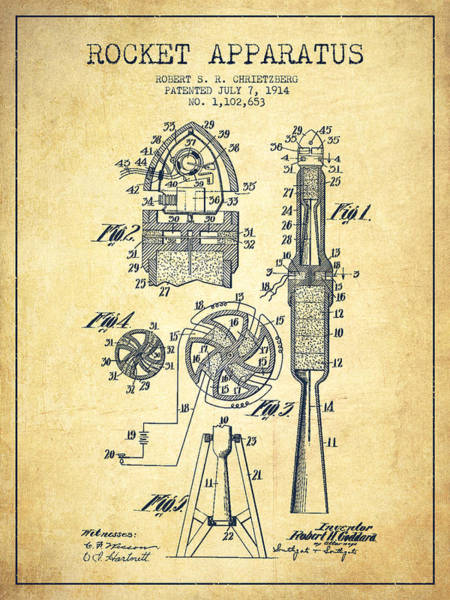 Living Space Wall Art - Digital Art - Rocket Apparatus Patent From 1914-vintage by Aged Pixel