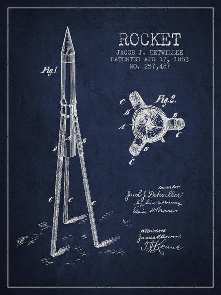 Wall Art - Digital Art - Rocket Patent Drawing From 1883 by Aged Pixel