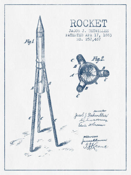 Living Space Wall Art - Digital Art - Rocket Patent Drawing From 1883 - Blue Ink by Aged Pixel