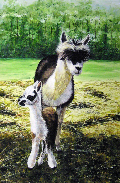 Alpaca Painting - Rocketman And Moonie by Karla Horst