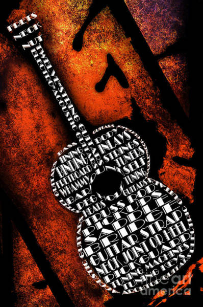 Digital Art - Rockin Guitar In Orange by Andee Design