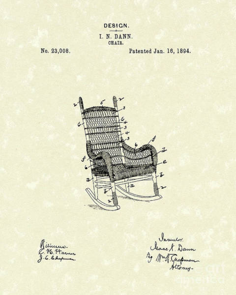 Drawing - Rocking Chair 1894 Patent Art by Prior Art Design