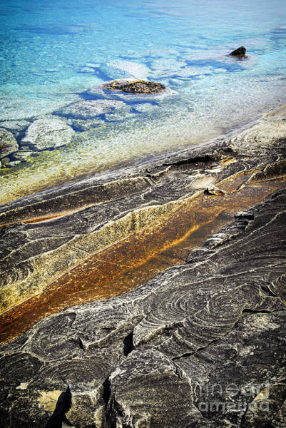 Great Lakes Photograph - Rocks And Clear Water Abstract by Elena Elisseeva