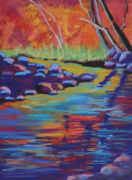Elwood Blues Painting - Rocks And Reflections by Jann Elwood