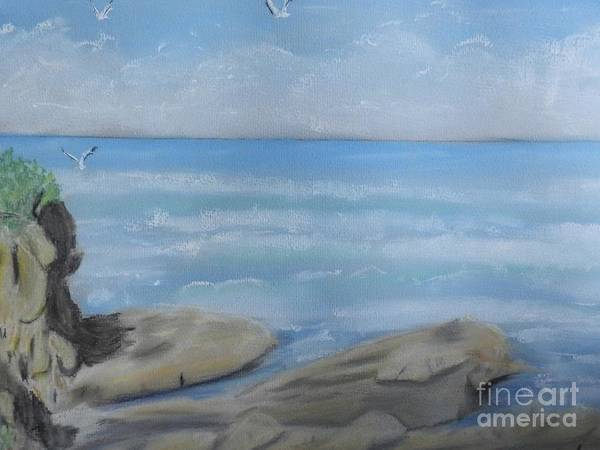 Wall Art - Painting - Rocks And Surf by Pamela  Meredith