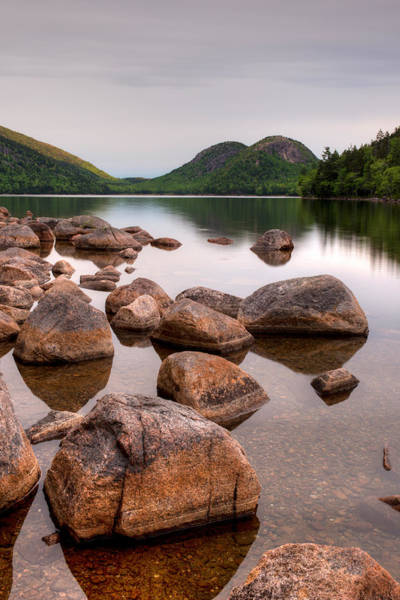 Colored Bubbles Photograph - Rocks In Pond, Jordan Pond, Bubble by Panoramic Images