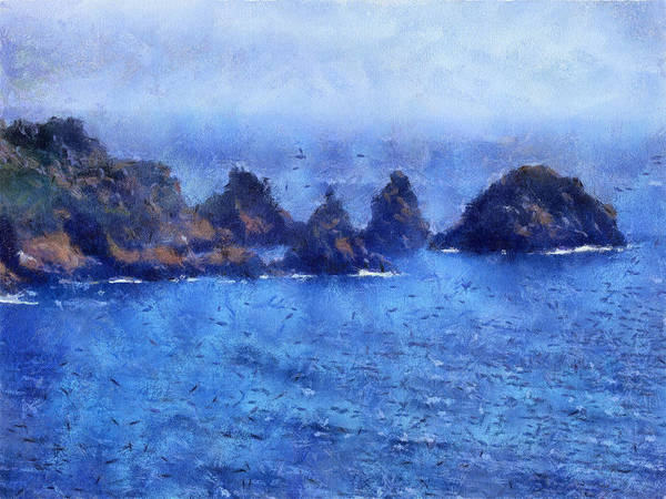 Digital Art - Rocks On Isle Of Guernsey by Bellesouth Studio