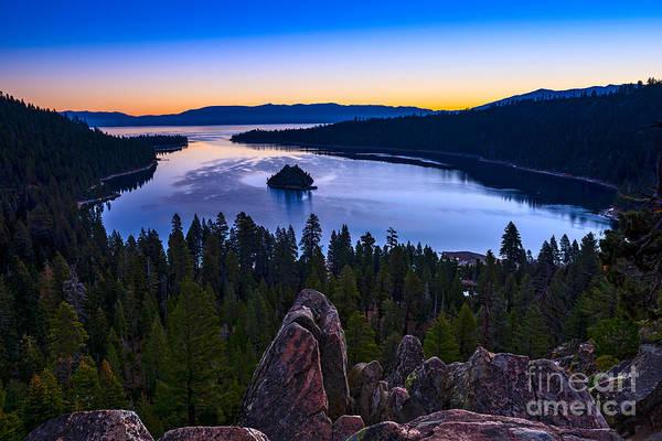 Emerald Bay Photograph - Rocks Over Emerald Bay by Jamie Pham