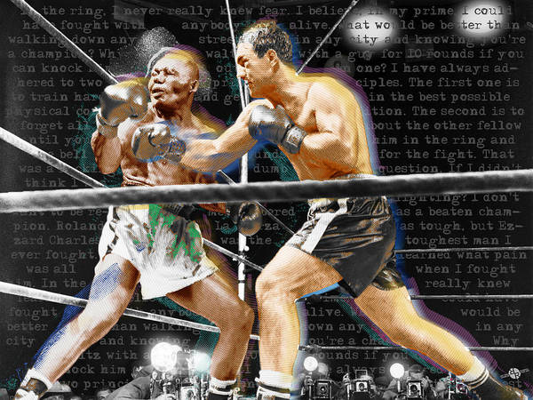 Boxing Painting - Rocky Marciano V Jersey Joe Walcott Quotes by Tony Rubino