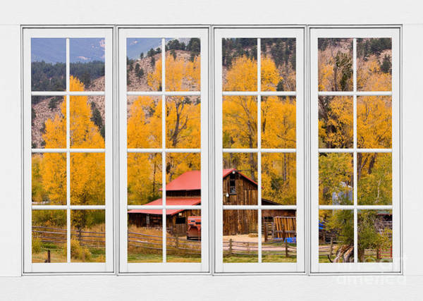Photograph - Rocky Mountain Autumn Ranch White Window View by James BO Insogna